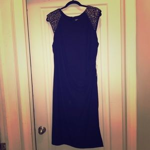 Vince Camuto navy beaded ruched waist dress
